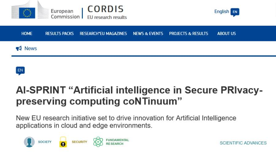 "AI-SPRINT ""Artificial intelligence in Secure PRIvacy-preserving computing coNTinuum"""